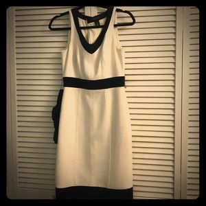 WHBM timeless black and white body con dress